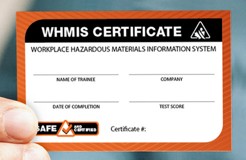 hand holding whmis certificate
